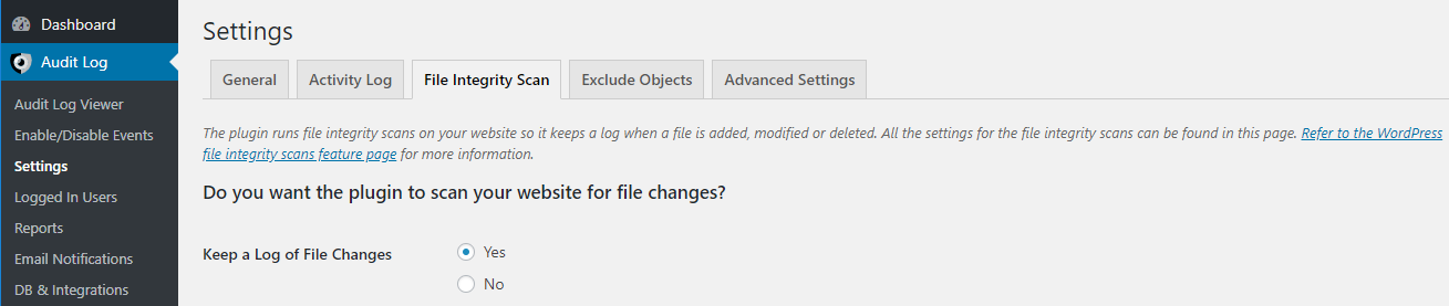 Settings to enable or disable the WordPress file integrity scanner