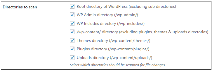 Select the directories to scan for file changes