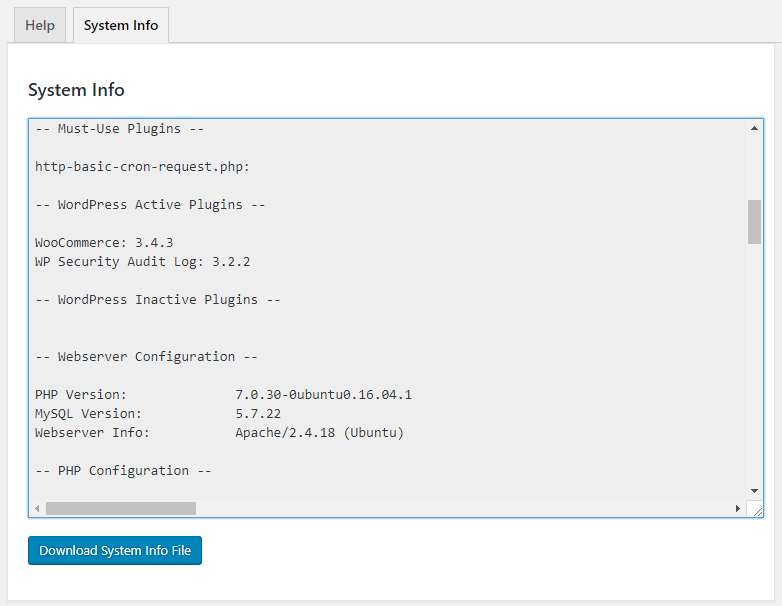 Generating a WordPress system info file for the WP Activity Log plugin support