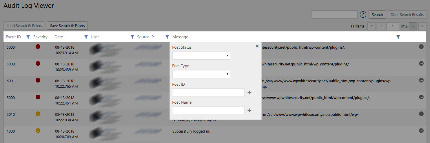 Intuitive WordPress activity log filters