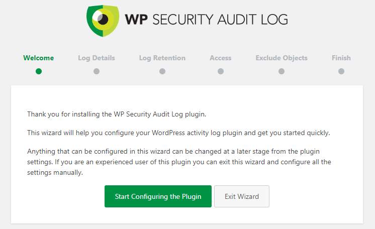 The WP Security Audit Log plugin setup wizard