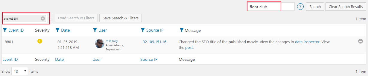 Using the Filters and Text Based Searches in the Activity Log