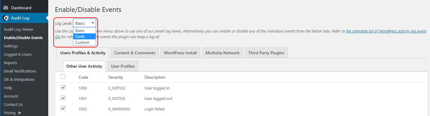 Configuring the WordPress activity log level in the WP Security Audit Log plugin