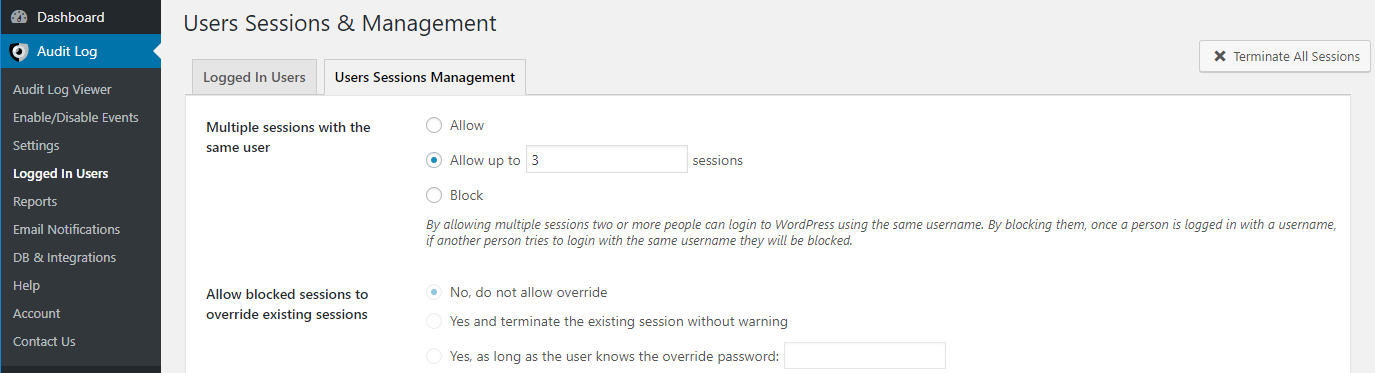 Settings to manage WordPress users sessions