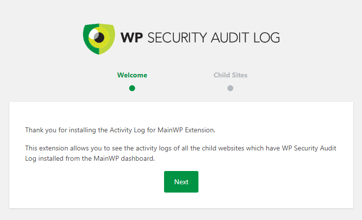 Setup wizard in the Activity Log for MainWP extension