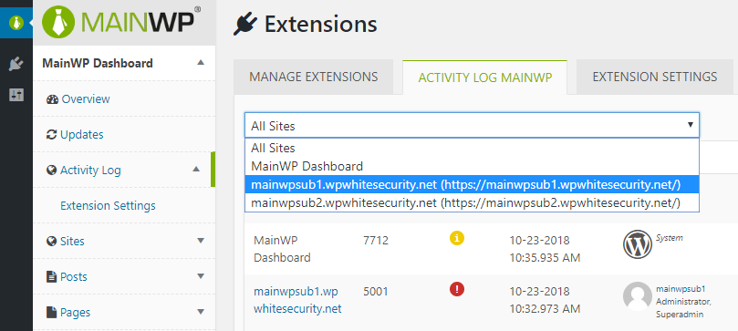 Child site filter in MainWP activity log
