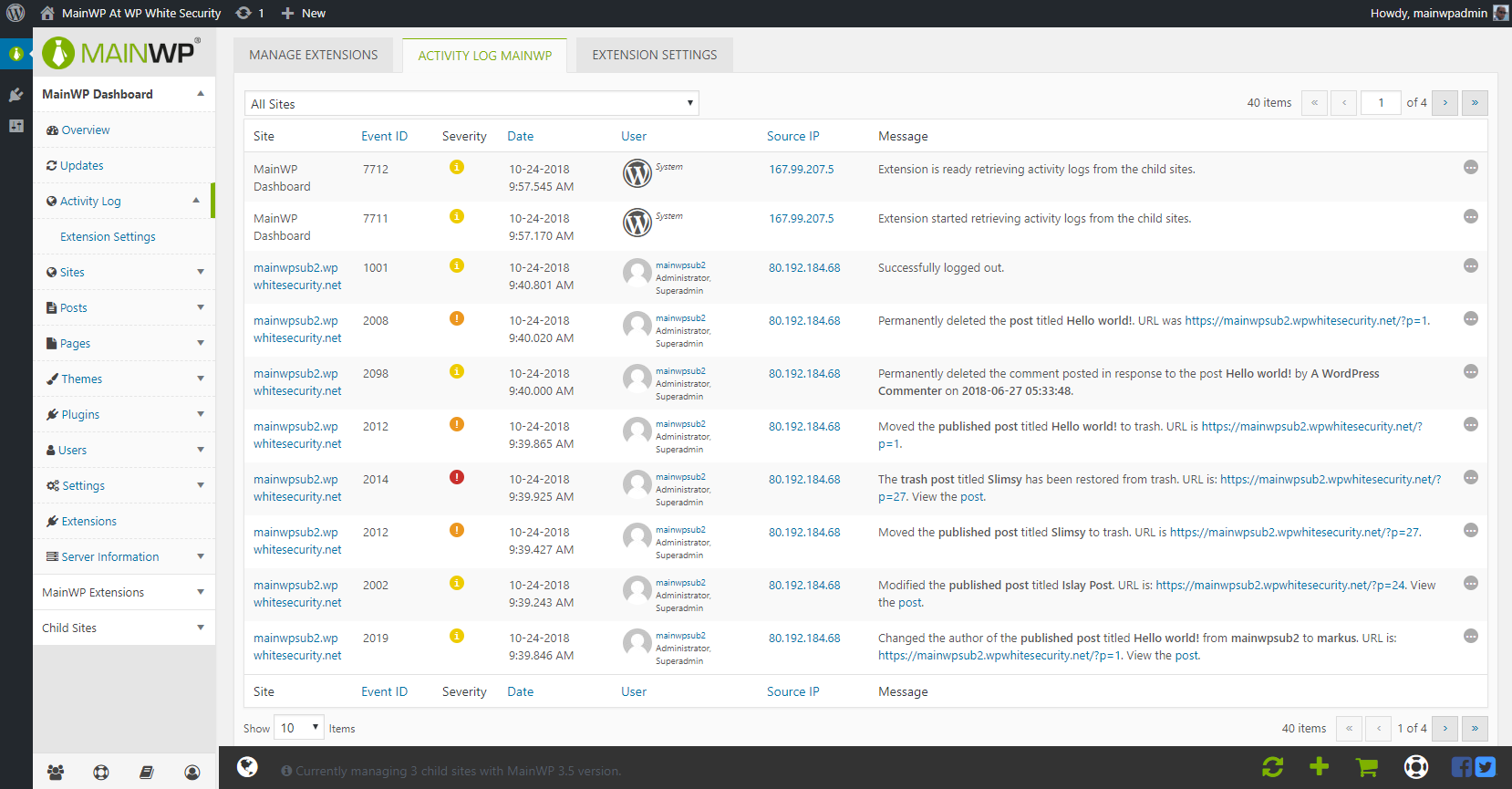 The activity log in MainWP dashboard
