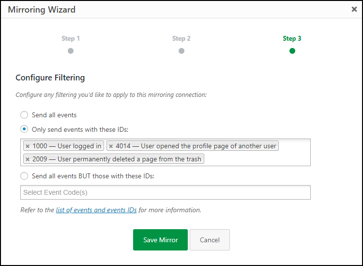 Filtering the activity logs events