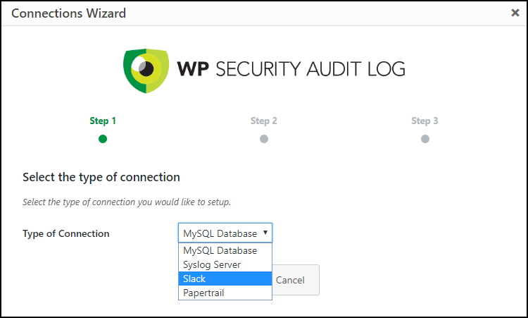 Wizard to setup and external connection for the activity log