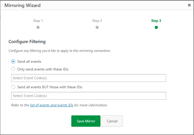 Configuring filters for the activity log and Slack integration