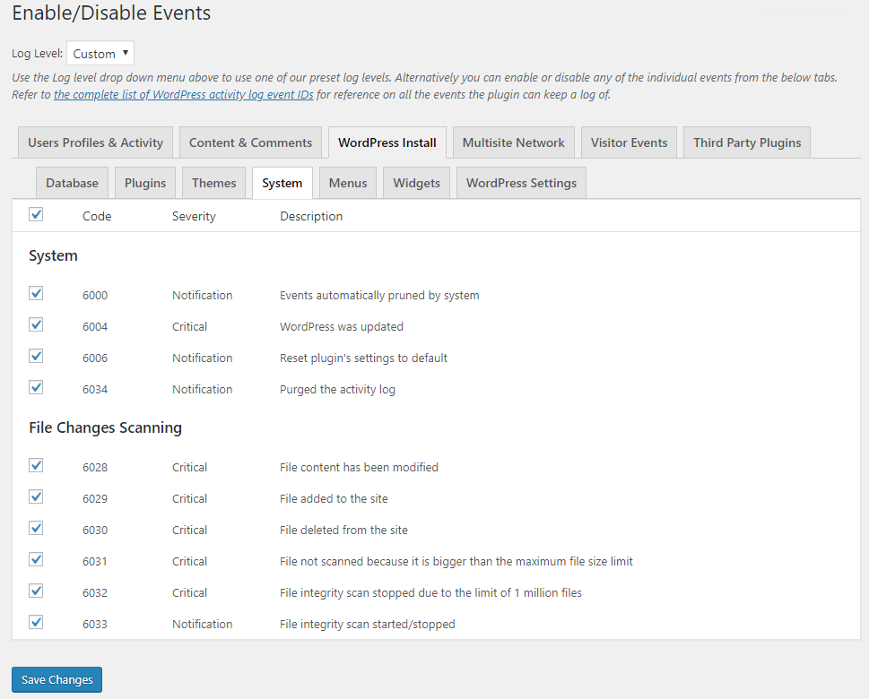 Disable (and re-enable) activity log event IDs