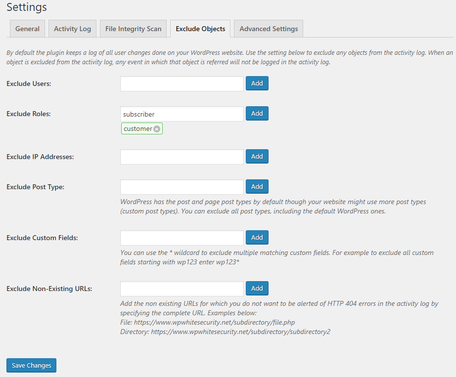 Settings to exclude users, roles and more from the activity log
