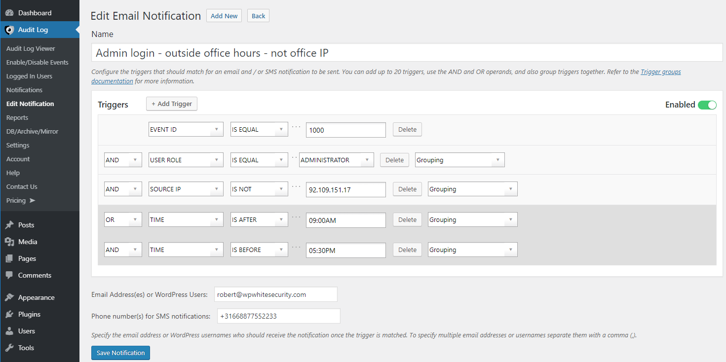 Configuring the SMS notification criteria in the plugin