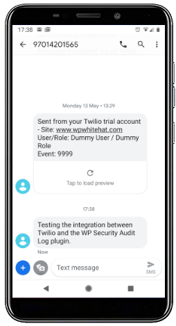Test SMS notification from Twilio