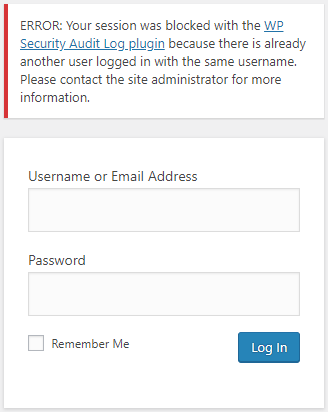 WordPress user login blocked with warning
