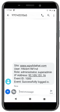 SMS alert about a suspicious WordPress user login