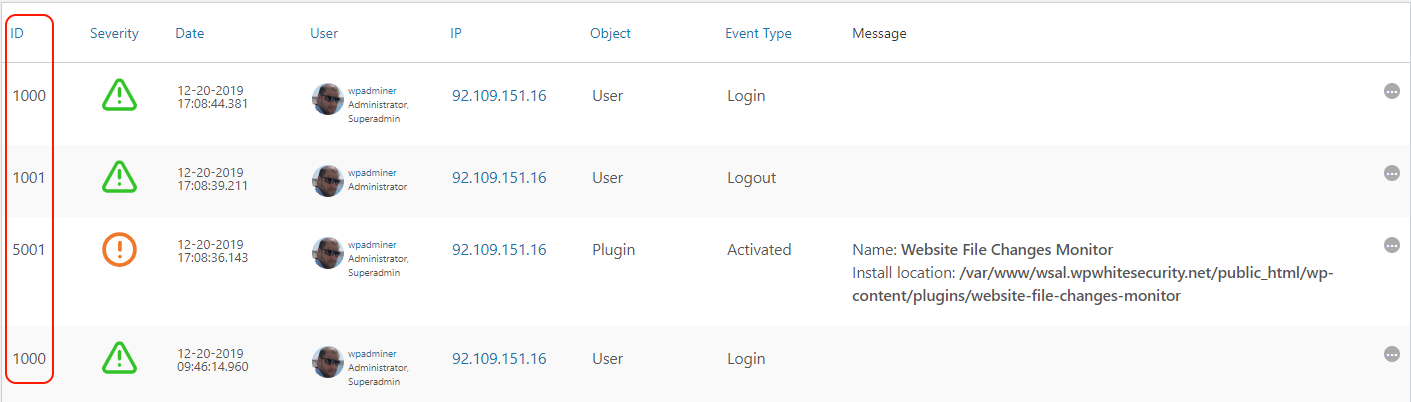 The event ID in the activity log