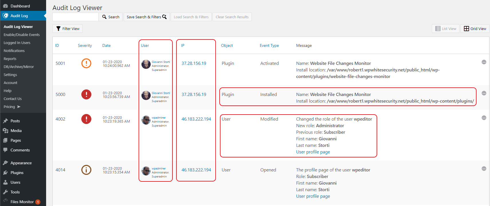 A new plugin install and a user role change reported in the activity logs