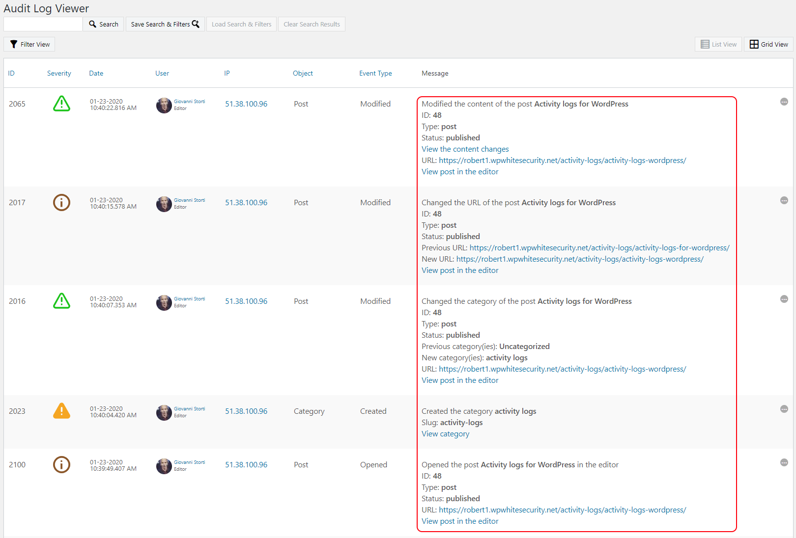 Post changes reported in the WordPress activity logs