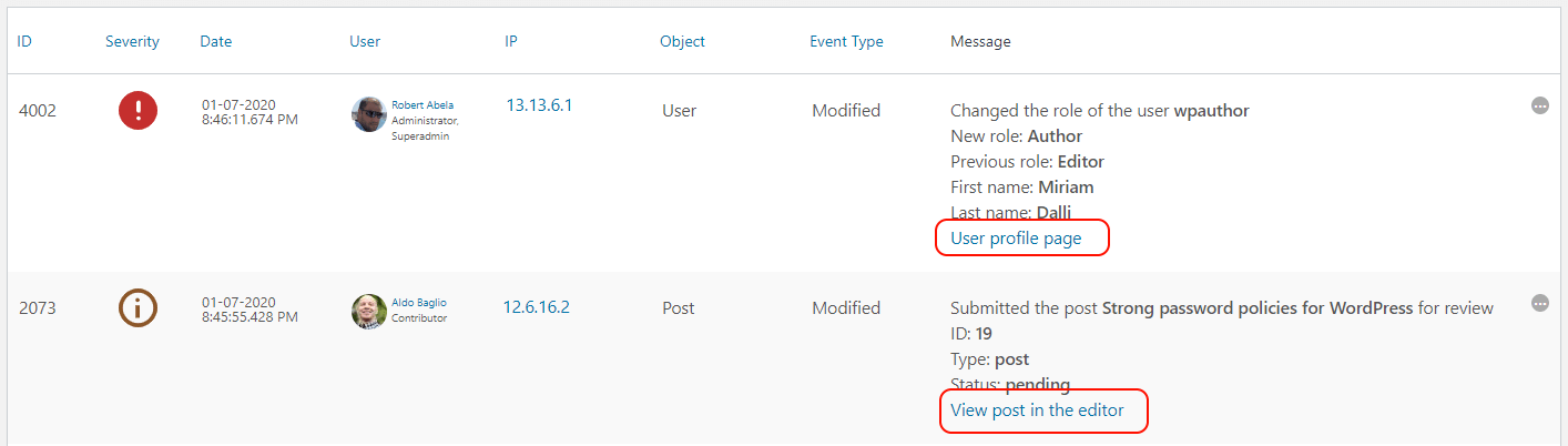 The link to the editor or user profile in the activity log message