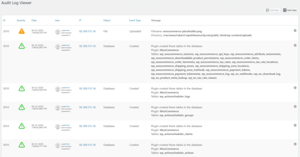 A number of WordPress database changes reported in the activity log
