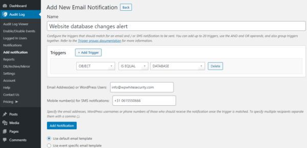 Configuring a notification trigger in the activity log for WodPress database changes