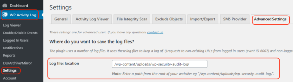 Configuring the log files location