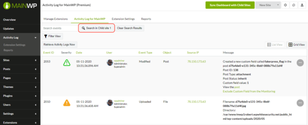 Easily search the activity log of child sites