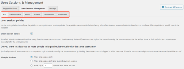 Users sessions policies can be configured per role