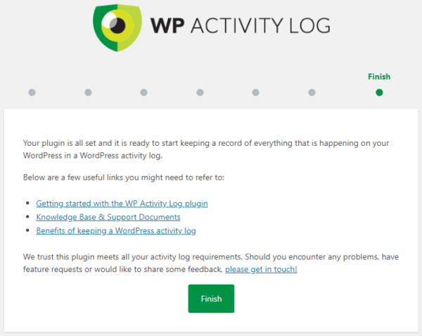 The activity logs plugin wizard is completed