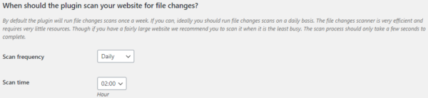 Configuring how often should the file integrity monitor scan should run