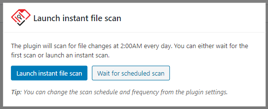 Running the first file integrity scan