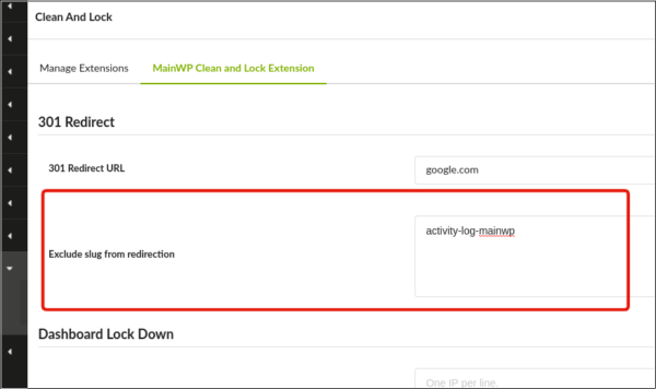 The settings in the Clean & Lock MainWP extension