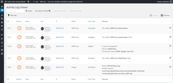 Changes in WPForms plugin reported in the activity log