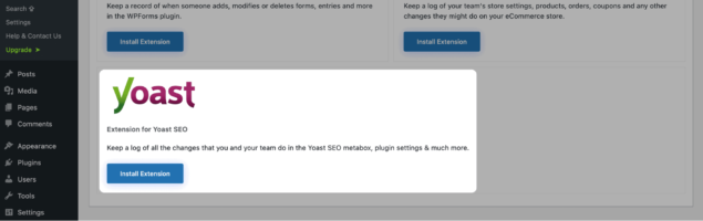 Installing Yoast SEO extension for WP Activity Log