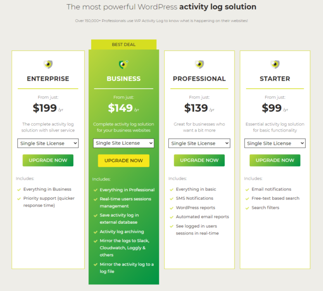 WP Activity Log updated pricing