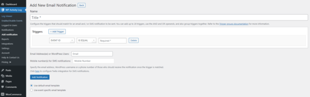 Configuring a custom WooCommerce email or SMS notification
